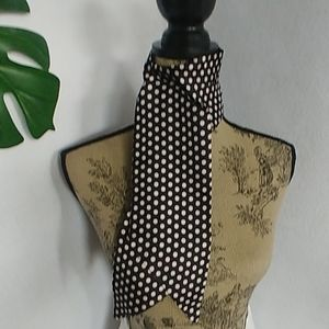 Vintage Black White Polka Door Neck Scarf